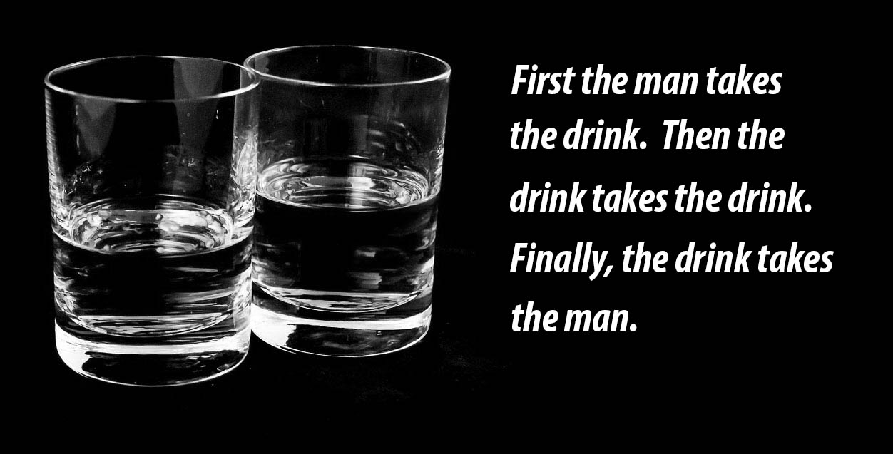 Chinese proverb with an image of two alcoholic drinks.